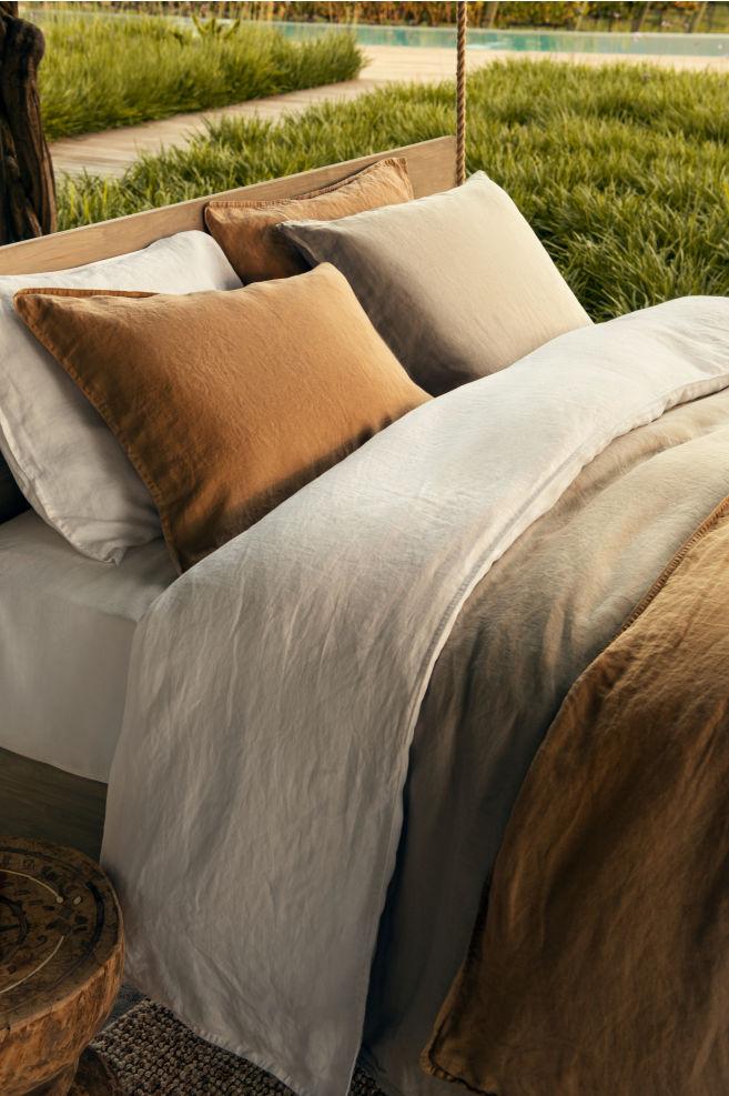 Washed Linen Duvet Cover Set Light Beige Home All H M Gb Draps De Luxe Parure De Couette Couette En Lin