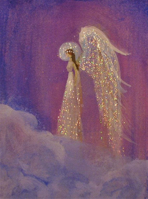 Acrylic Angel Miniature ACEO painting signed Healing ...