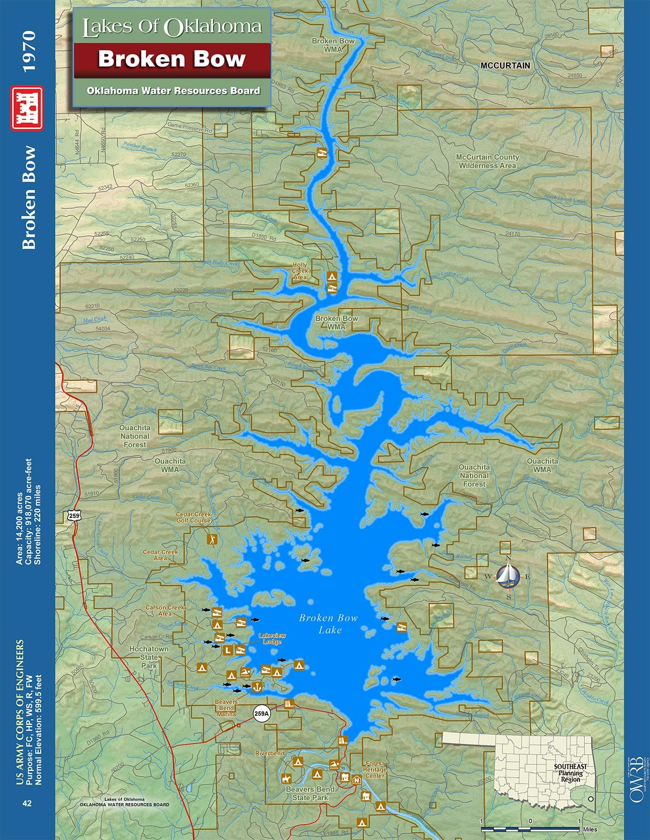 Broken Bow Lake Map Oklahoma Information   Broken Bow Maps | Broken Bow Cabin Lodging