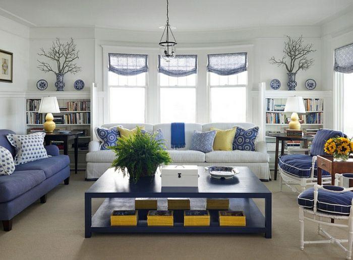 Pflanzen Wohnzimmer ~ Wandfarbe weiß wohnzimmer blaue möbel pflanzen einrichten und