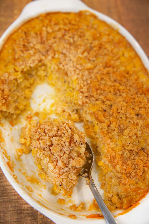 Easy Scalloped Corn Recipe (Creamy, Buttery & Crispy!)- Dinner, then Dessert