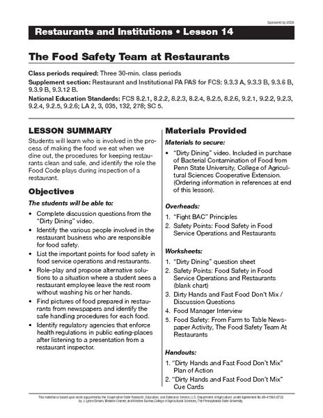 The Food Safety Team At Restaurants Th  Th Grade Lesson Plan