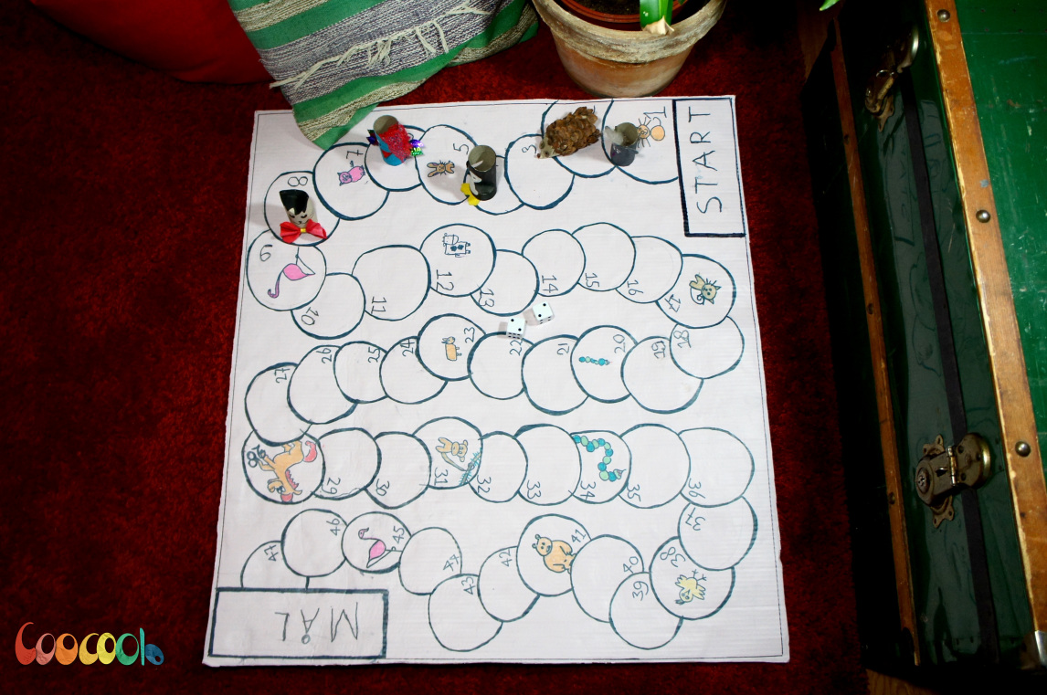 Board Game Kids Craft with Toilet Paper Roll Pawns and Animal Theme - Coocoolo