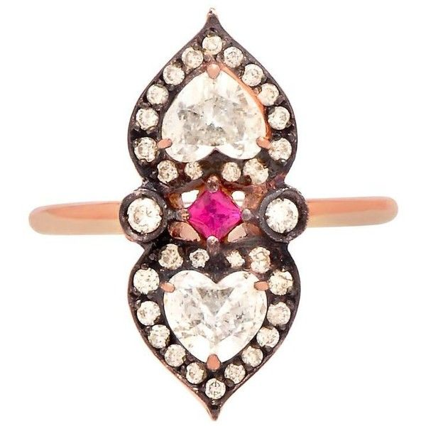 "Sabine Getty Ruby Diamond Gold ""heart To Heart"" Ring $7 681"