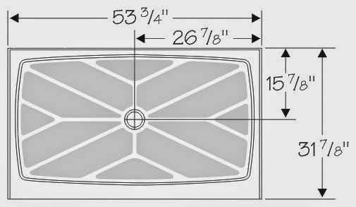 New Size 54 X 32 Standard Full Height Shower Base Center Drain