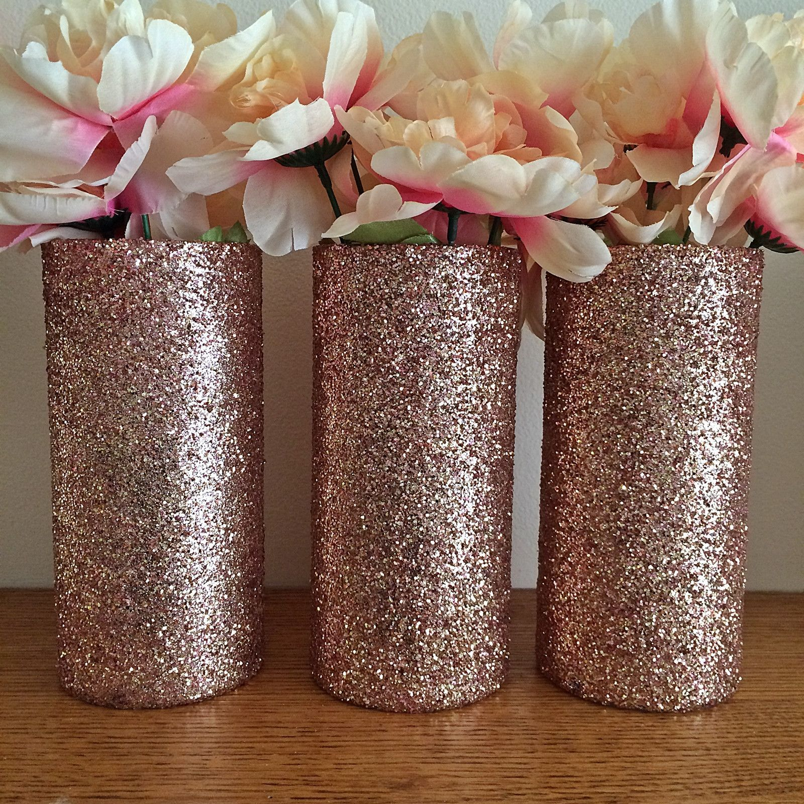 Set of 3 Beautiful Rose Gold Glitter coated Glass Cylinder Vases