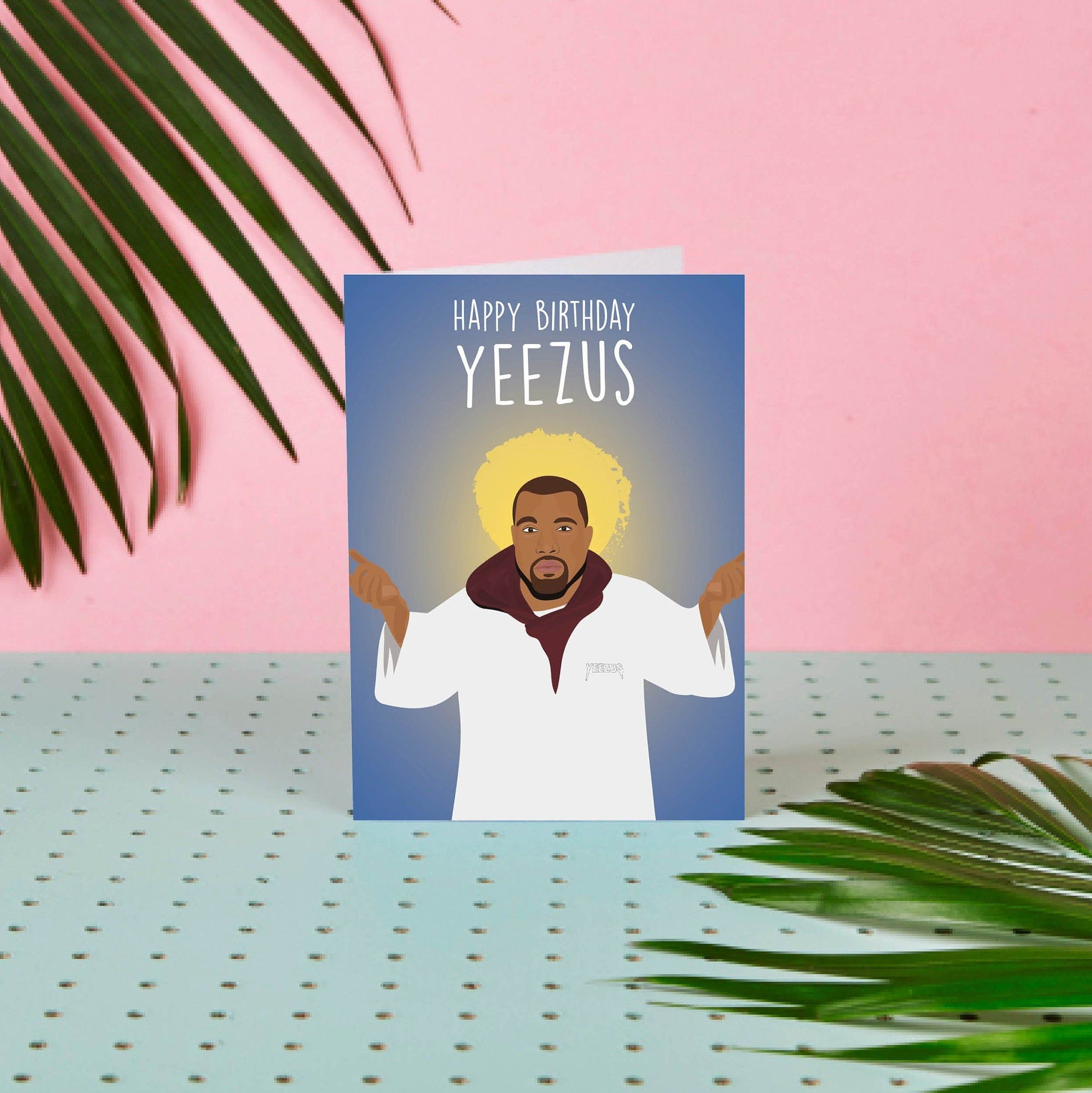 Happy Birthday Yeezus Christmas Card Kanye West Greeting Etsy Happy Birthday Christmas Cards Greetings