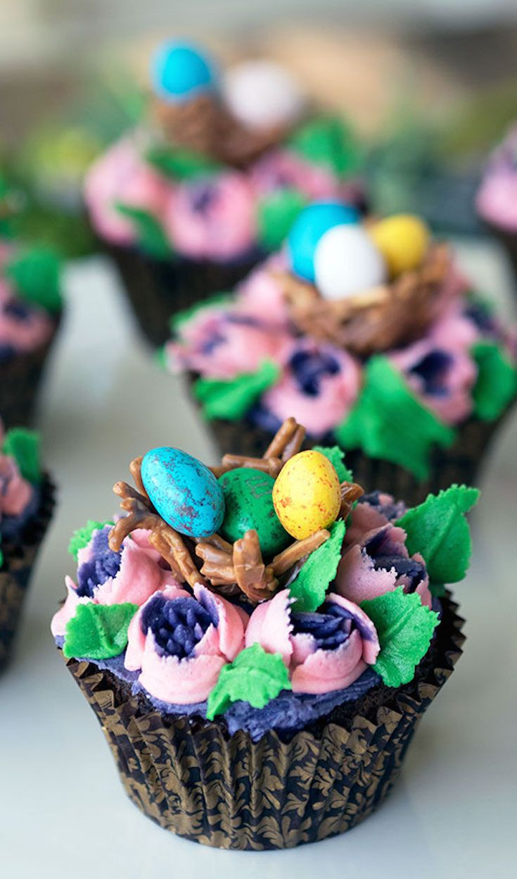 Easter Chocolate Mud Cupcakes using Russian Piping Tips