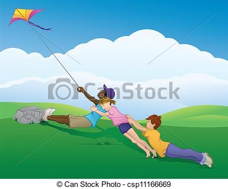 Clip Art Vector Of Kite Teamwork Vector Illustration Of Three Kids Flying A Csp11166669 Search Clipart Illustration Teamwork Illustration Illustrators