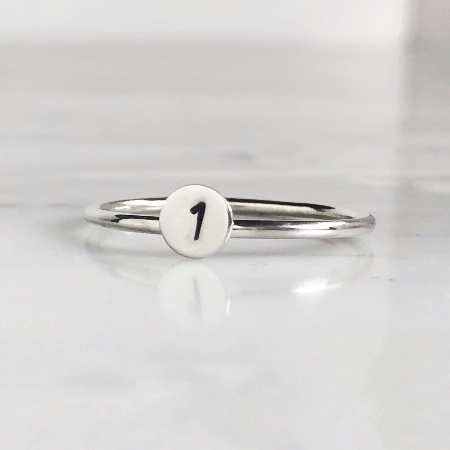 Personalized Initial Stacking Ring, Stackable Mother's