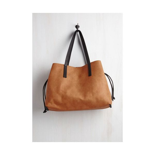 In-Depth Percussion Bag ($60) ❤ liked on Polyvore featuring bags, handbags, tote bags, accessories, brown, totes, white handbags, tote handbags, vegan leather tote and white tote