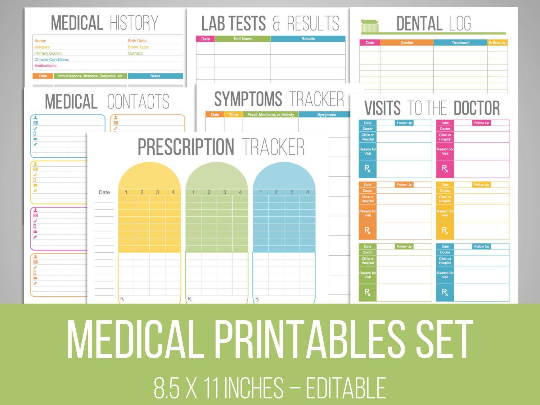Medical Printables Set - Organizing Printables - EDITABLE - DIY ...