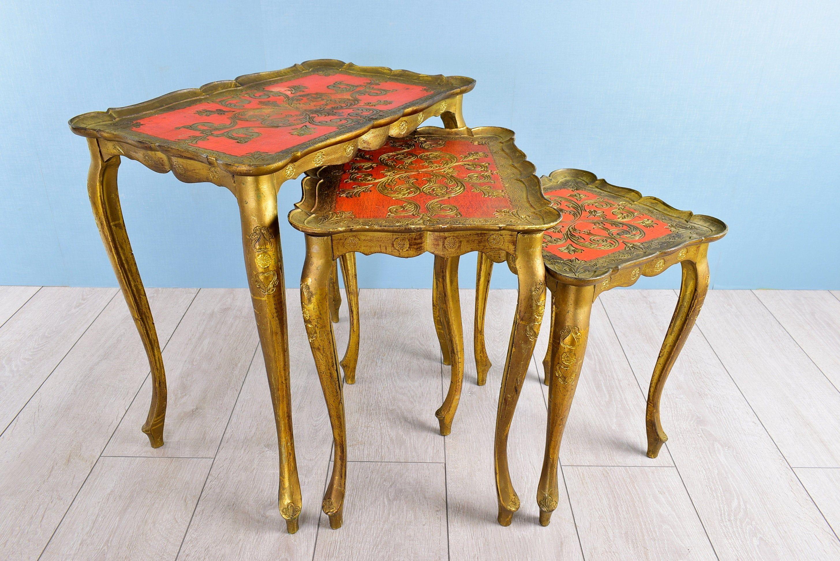 3 Vintage Bijzettafeltjes.Vintage Nesting Tables Florentine Country Style 3 Tier Set Side