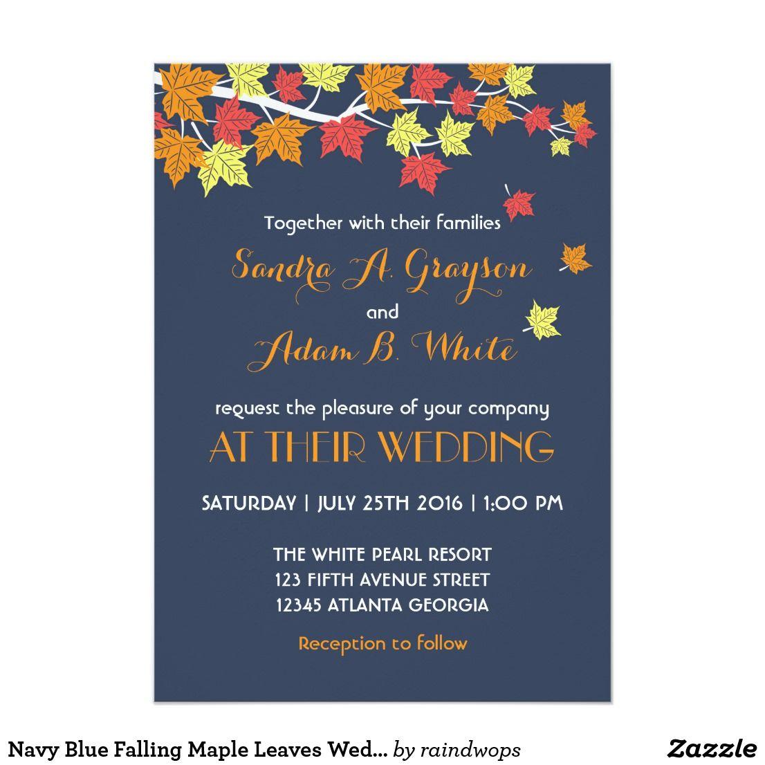 Navy Blue Falling Maple Leaves Wedding Invitation | Pinterest ...