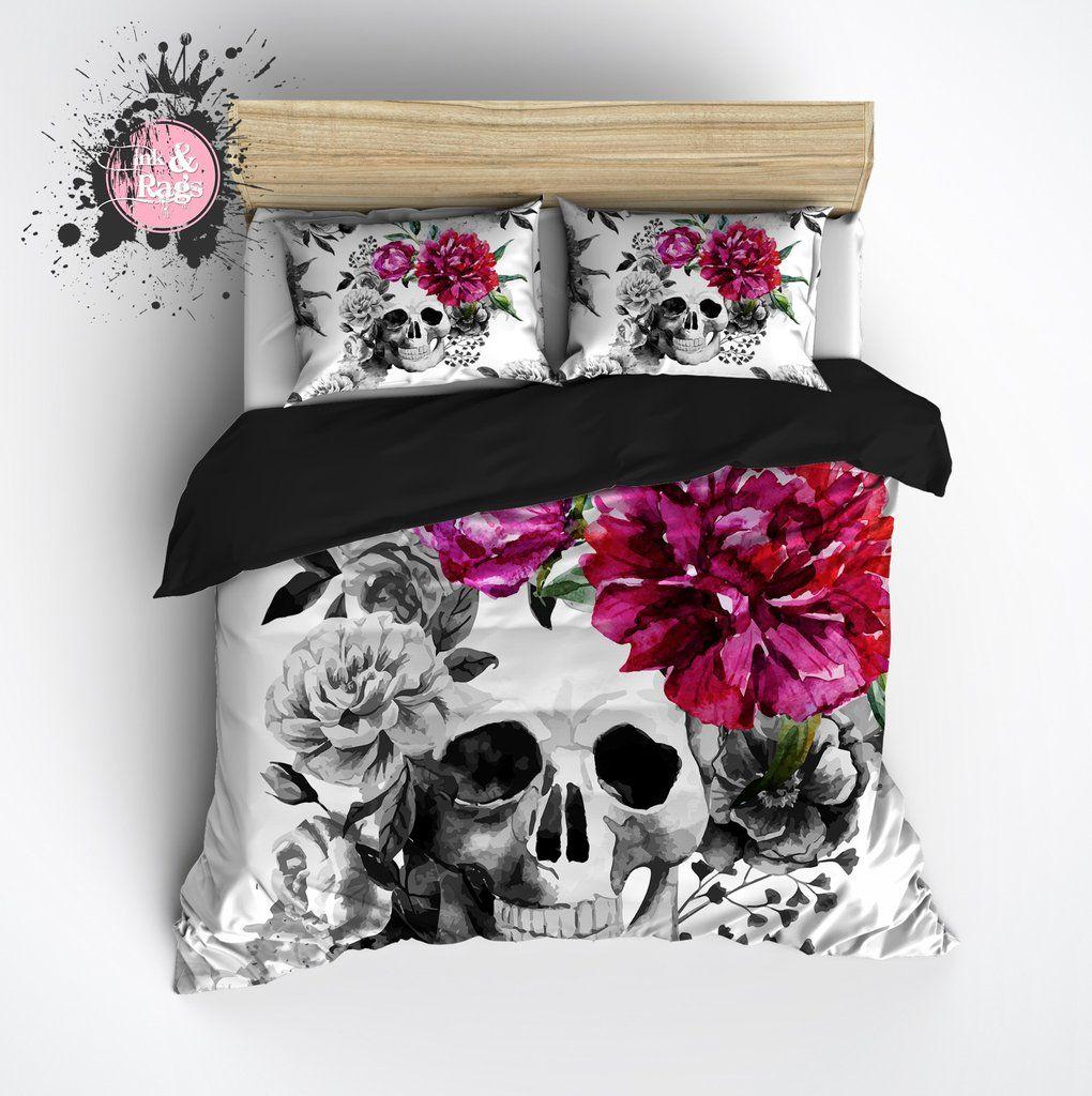 Pink Flower Black and White Watercolor Skull Comforter