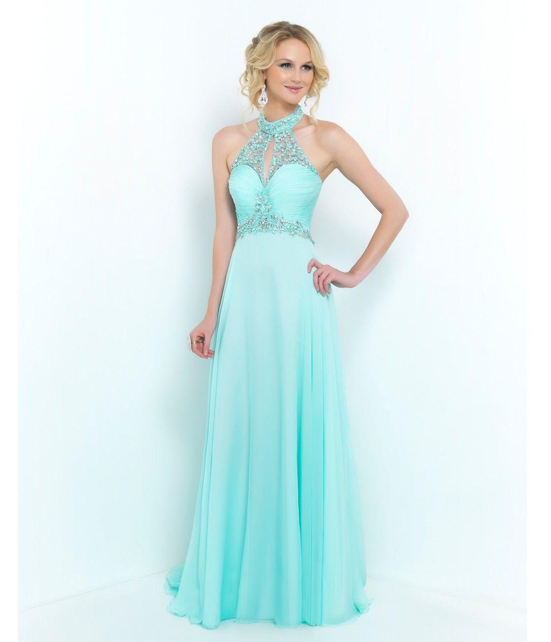 Blush Prom Aquamarine Beaded Halter Chiffon #Prom Dress ...