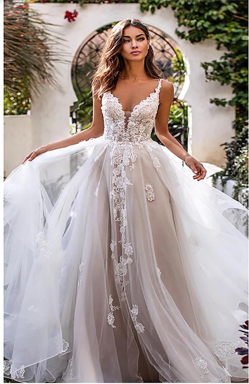 Lorie A Line Wedding Dress 3d Flowers Spaghetti Strap Bride Dress 2019 Backless Princes Fall Wedding Dresses Lace Wedding Dresses 3d Flowers Ball Gowns Wedding