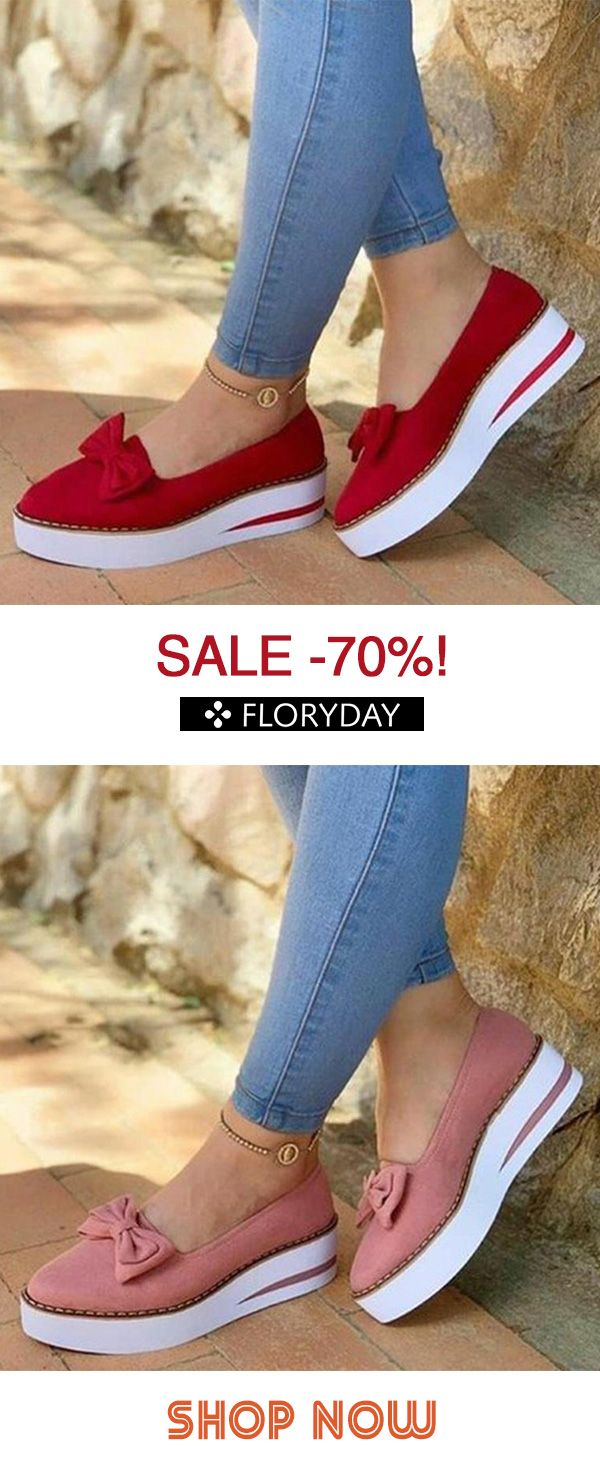 Women's bowknot round toe flat heel shoes
