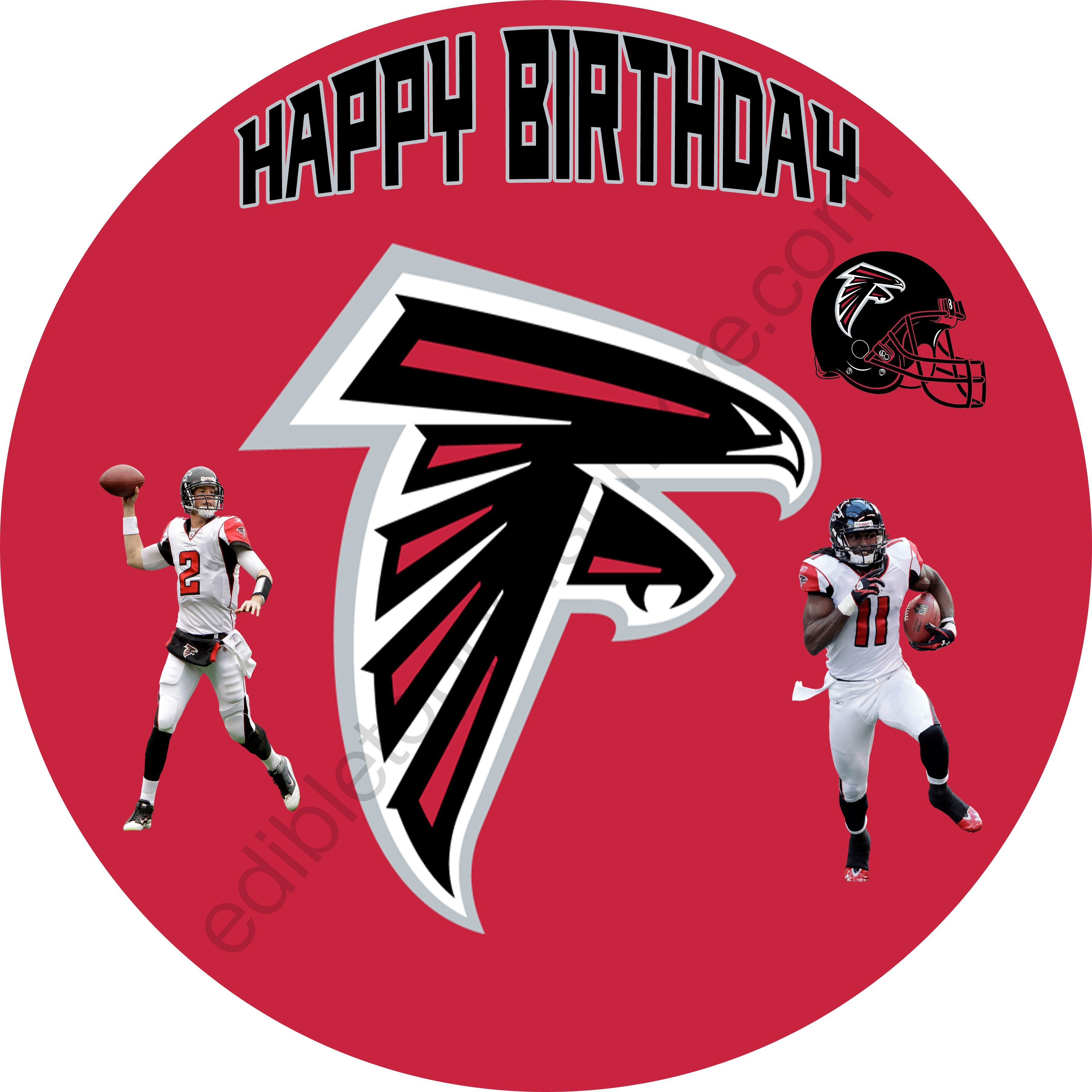 Atlanta Falcons Personalized Edible Print Premium Cake Topper Frosting Sheets 5 Sizes With Images Edible Printing Atlanta Falcons Birthday Atlanta Falcons