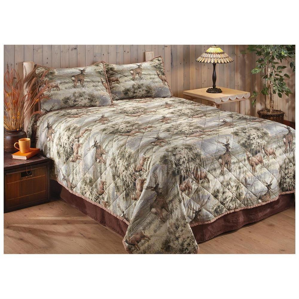 Hunting Deer Bedspread Bedding Bed Comforter Bedroom Full King Queen Quilt Cabin Unbranded Comforters Bed Queen Quilt