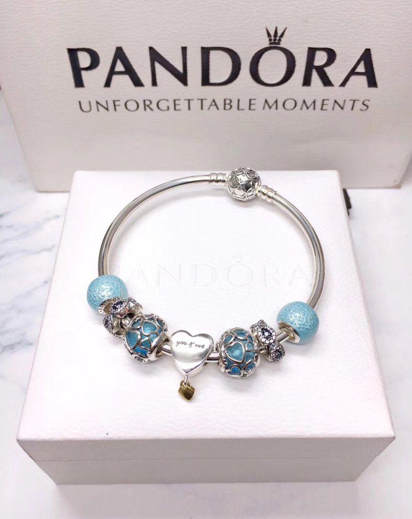 Pandora enchanted blue theme charm bracelet in pandora