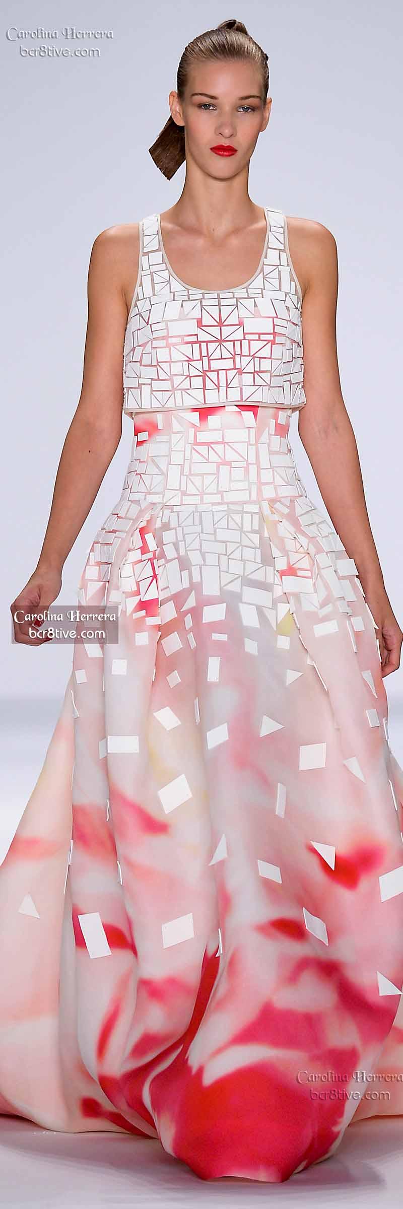 Carolina Herrera ~ Floral Maxi Dress, White/Rose, Spring 2015
