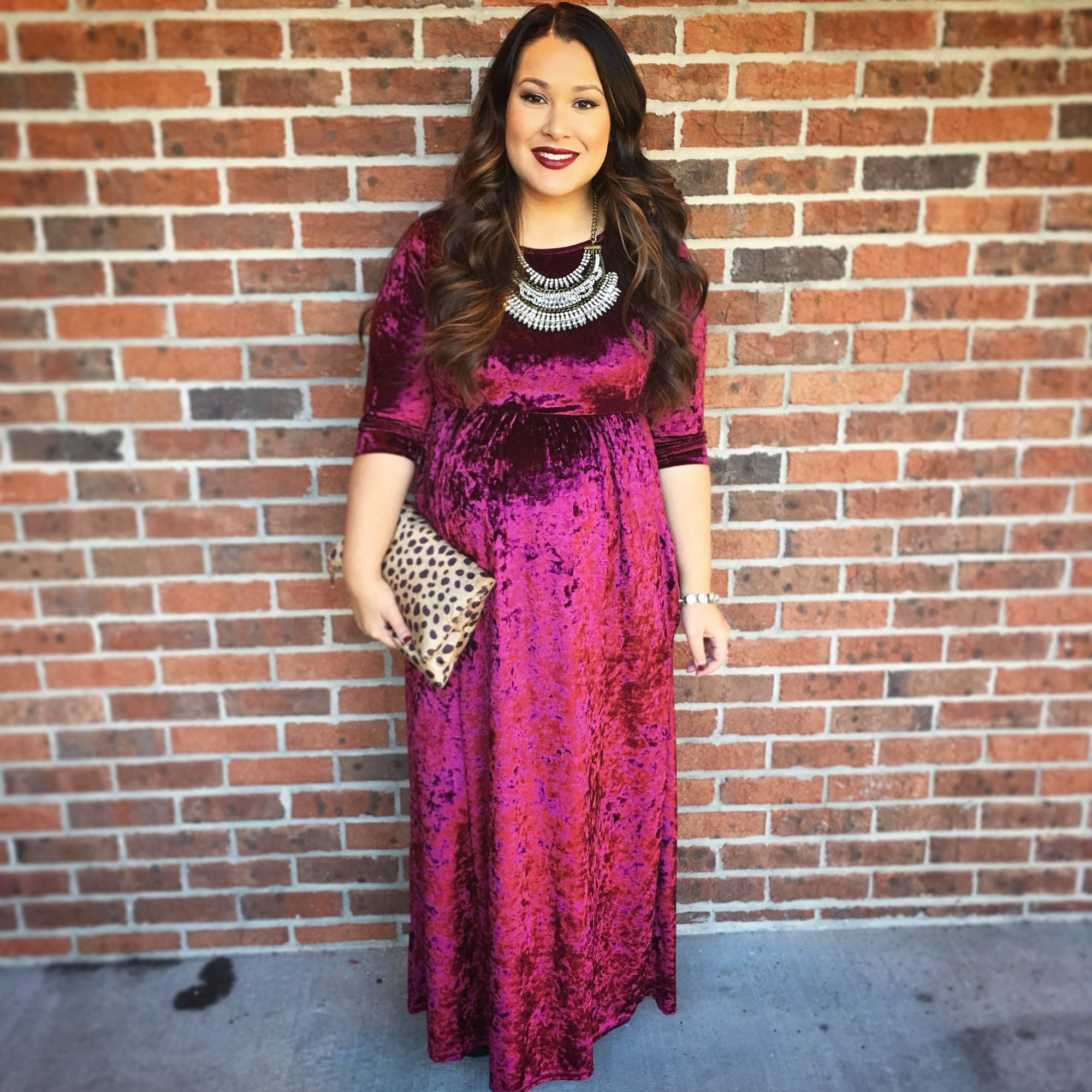 3 holiday looks featuring pink blush maternity pink blush burgundy crushed velvet dress pink blush maternity dress boho statement necklace leopard fold over clutch purse ombrellifo Image collections