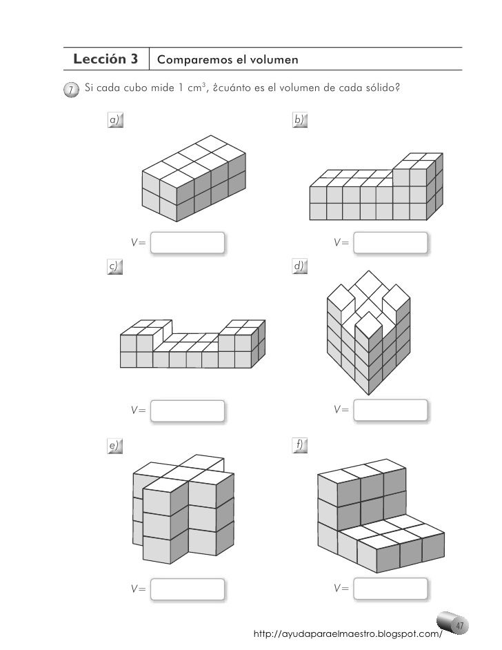 Resultado de imagen de ejemplos de volumen para niños