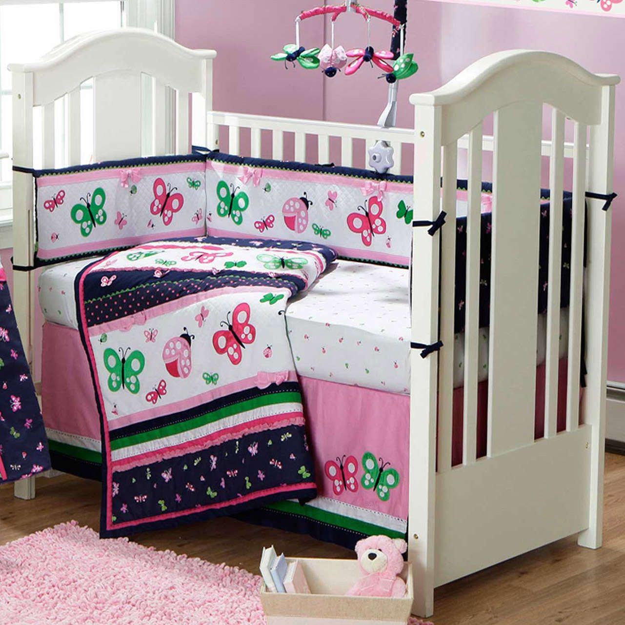 Classic Cutie Navy And Pink Ladybugs And Butterflies 9 Piece Crib