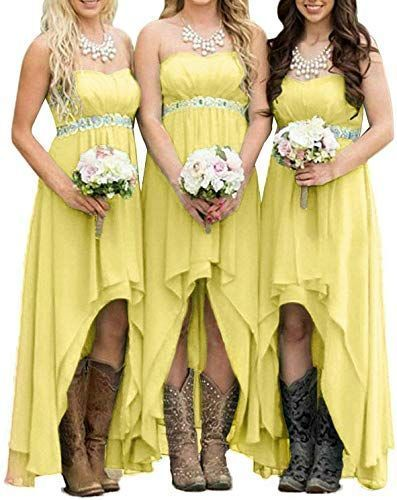 exclusive for EUMI Chiffon Bridesmaid Dresses High Low Strapless Country Bridal Wedding Party Gowns onlineEnjoy exclusive for EUMI Chiffon Bridesmaid Dresses High Low Str...