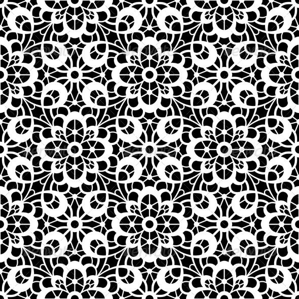 Black And White Lace Pattern Hinh Xăm Họa Tiết