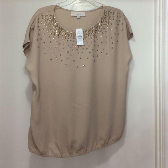 Loft gold blouse W embellishment 100% polyester. Hand wash cold LOFT Tops Blouses