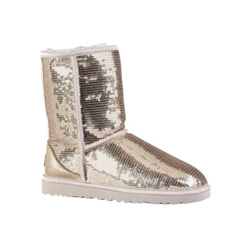 Shop for Womens UGG Classic Short Sequin Boot in Silver at Journeys Shoes.  Shop today