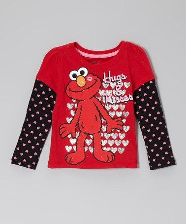 Take a look at this Red 'Hugs & Kisses' Elmo Layered Tee - Toddler by Sesame Street on #zulily today!