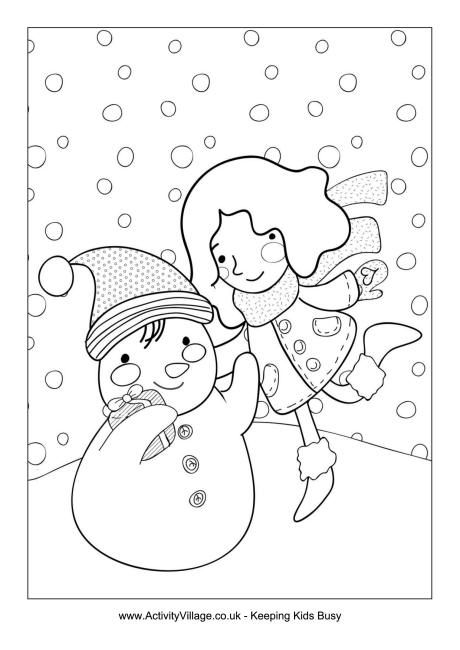 Building a snowman colouring page | My Compassion: Winter | Pinterest
