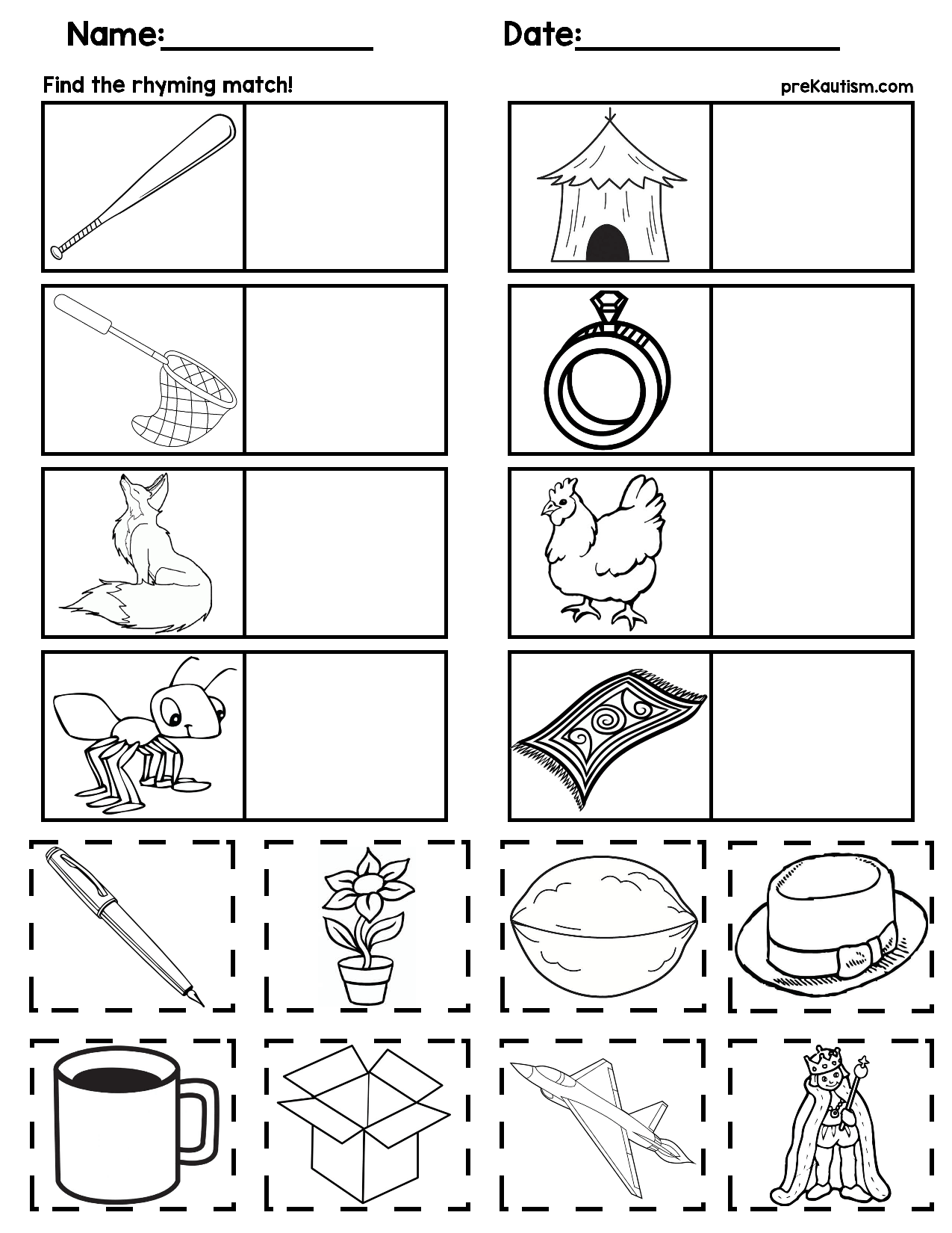 Rhyming Words Worksheet For Kindergarten