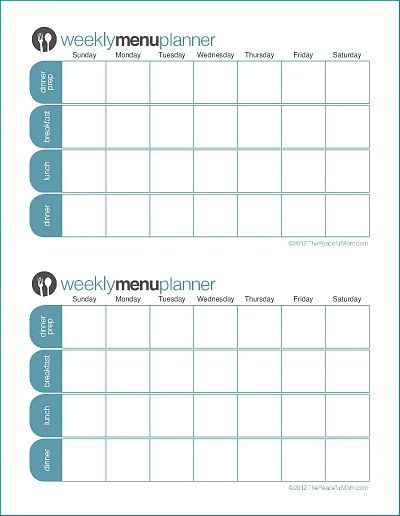 Click to Print TPM Customizable Two Week Menu Planner Mama a Menu - Agenda Planner Template