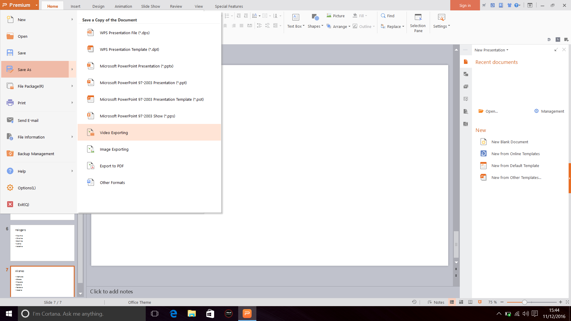 Screenshot of Selecting Save As in WPS Office 2016 Presentation