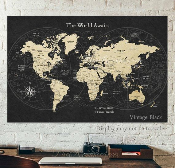 Push Pin Map World Travel Map Cities US Map Anniversary Gift for - pinnable world map