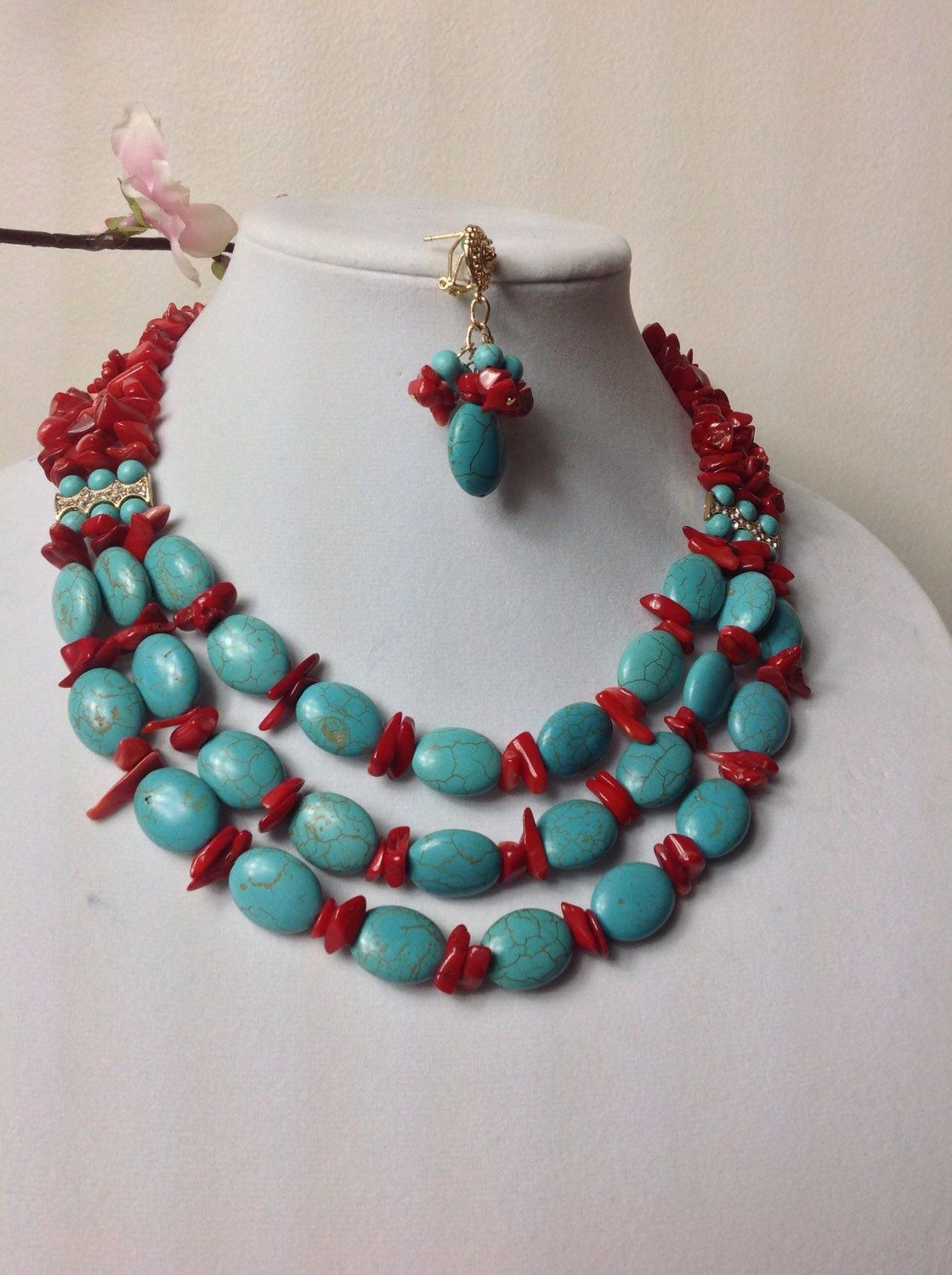 elegant turquoise gemstone beaded necklace set nigerian wedding bead coral bead necklace set