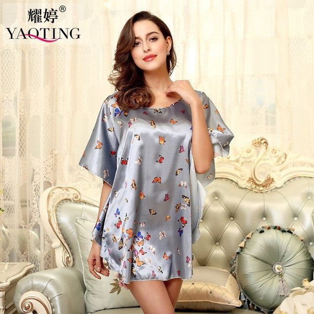 c15857f2eb RB028 Summer Sexy Silk Nightgown Sleepshirts Women Short-sleeves Sleepwear  Lounge Casual Satin Silk Nightwear Female Dress