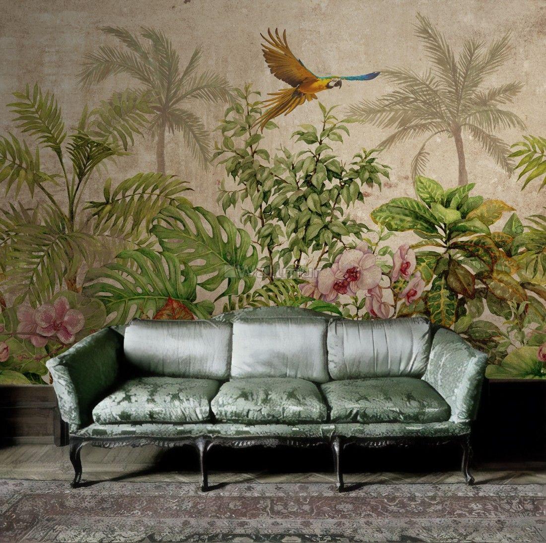 Tropical Vintage Forest Landscape Wallpaper Mural Wallmur Wall Art Wallpaper Mural Wallpaper Forest Wall Mural
