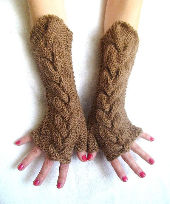 Fingerless Gloves Long Cabled Brown Wrist Warmers by LaimaShop, $38.00