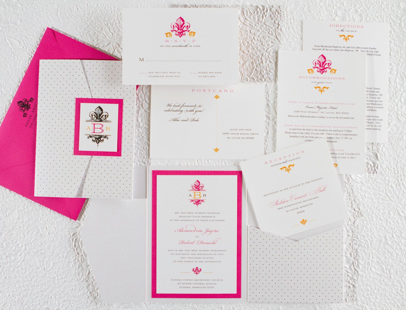 Pink And Polka Dots Fleur De Lis Wedding Invitation Pocket Fold