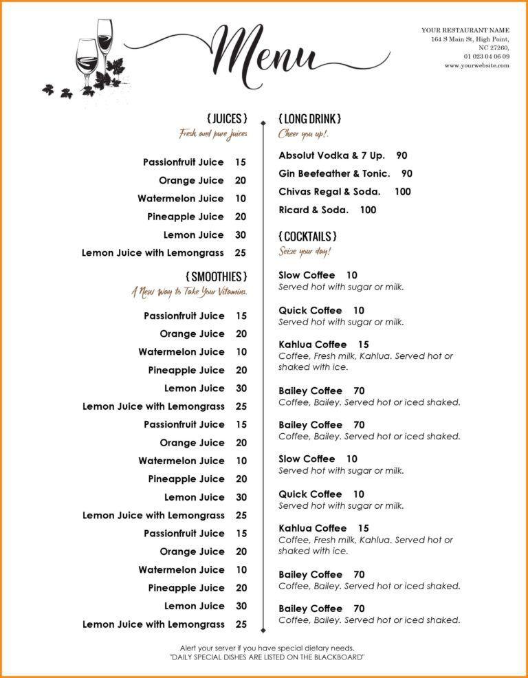 Word Menu Templates Colona Rsd7 Throughout Free Wedding Menu Template For Word Best Busine In 2020 Free Menu Templates Restaurant Menu Template Free Printable Menu
