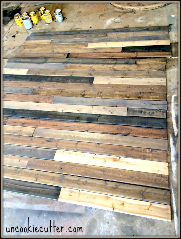 I created this mixed wood wall with cheap wood paneling from Lowes,  leftover stain and - Mixed Wood Wall - Easy & Cheap DIY Best Wood Walls And Lowes Ideas