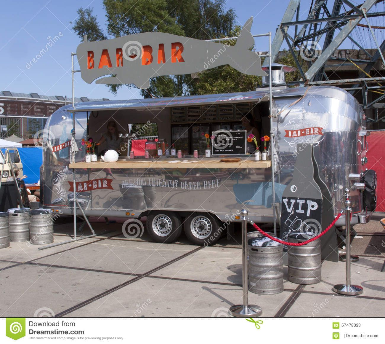 airstream caravan in use as a food truck in use as a bar