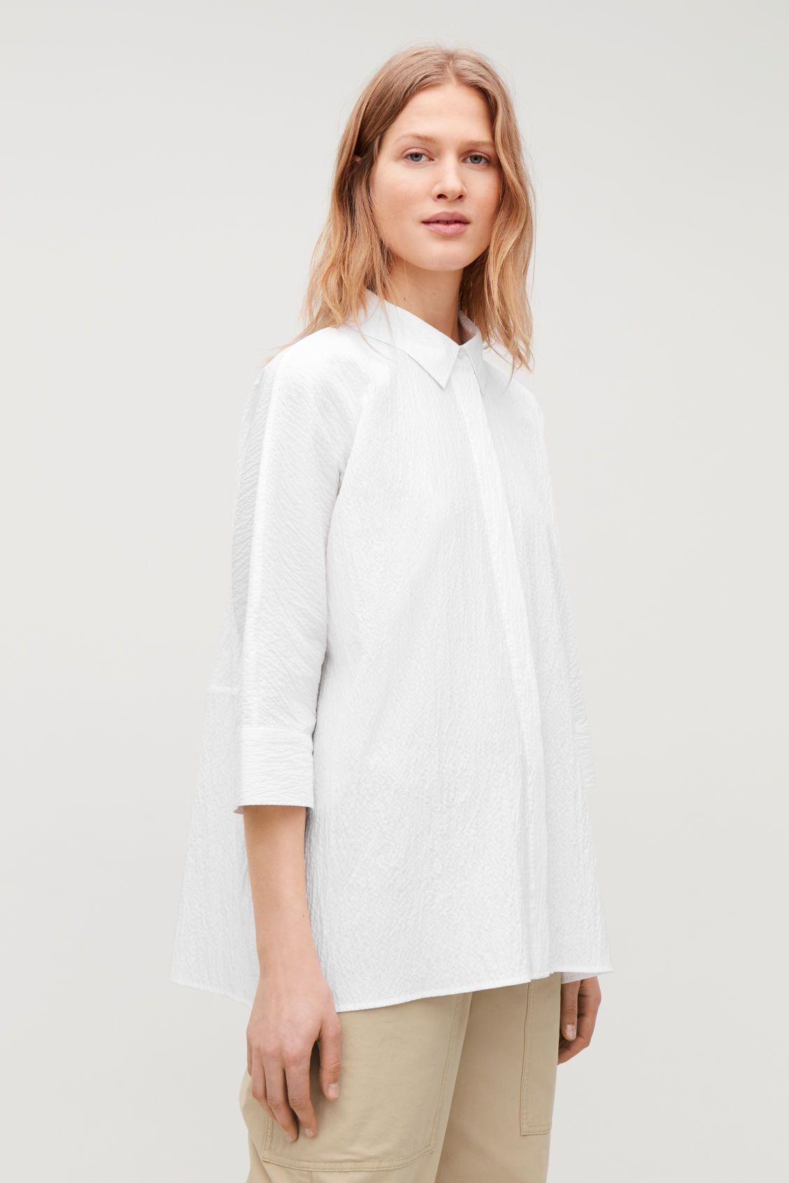 Loose Fit Seersucker Shirt White Tops Cos Seersucker Shirt