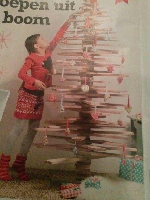 Kerstboom van planken