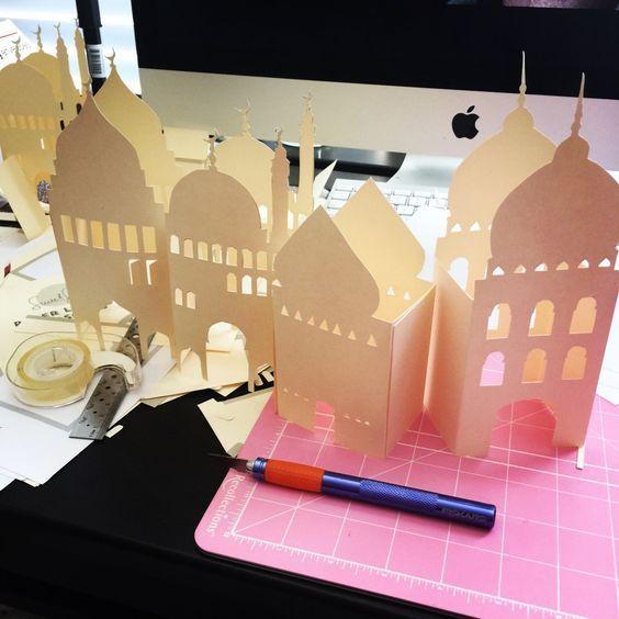 Pop Up Card Templates For Ramadan Ramadan Diy Mosque Centerpiece Rehana Du Jour Ramadan Crafts Ramadan Decorations Ramadan Kids